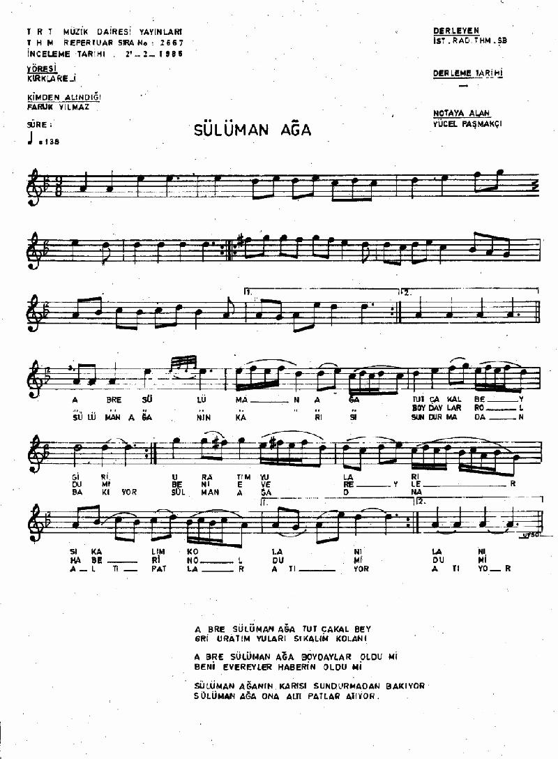 A Bre Sülüman Aga Nota 1