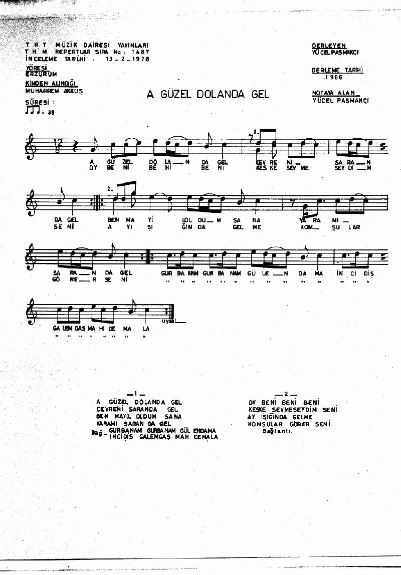 A Güzel Dolan Da Gel Nota 1