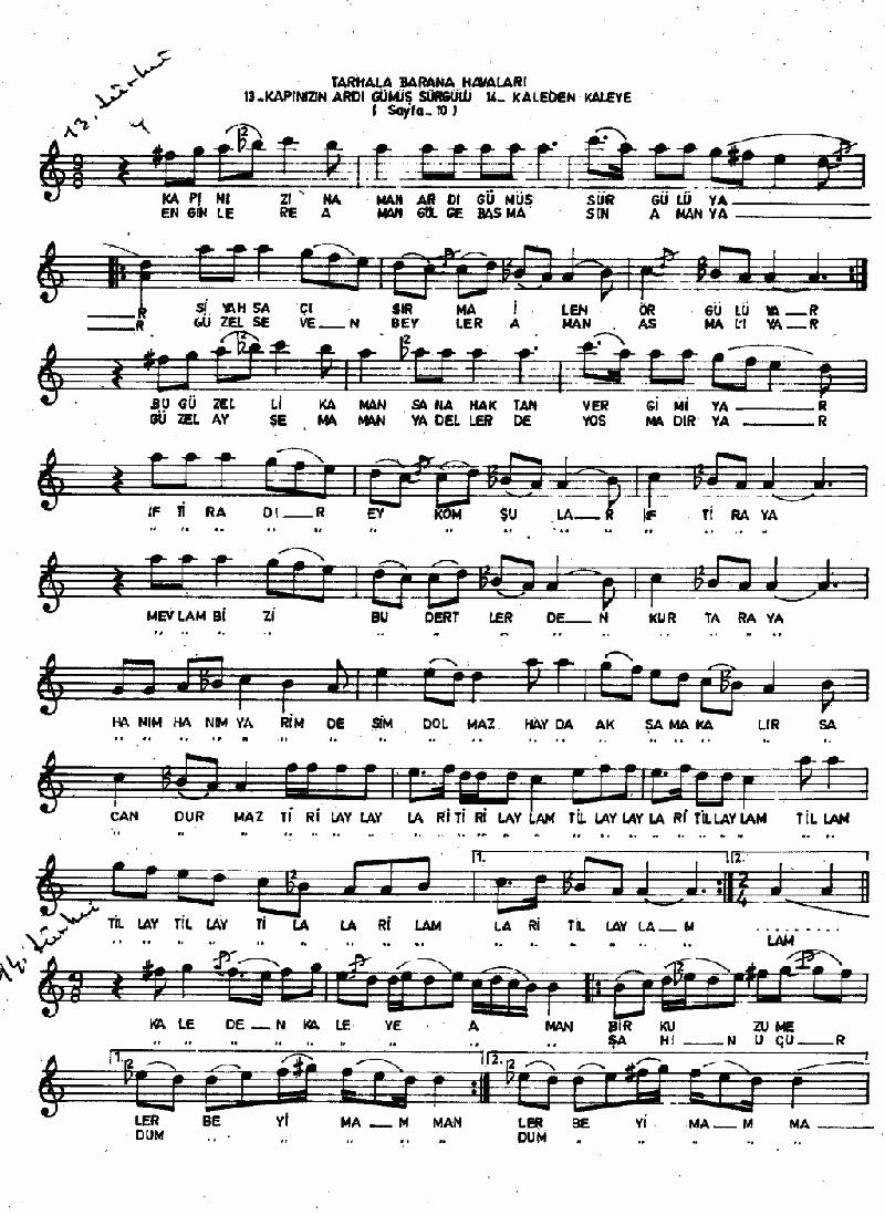 A Sevdiğim Pir Misin (barana-tarhala Hvl.) Nota 1