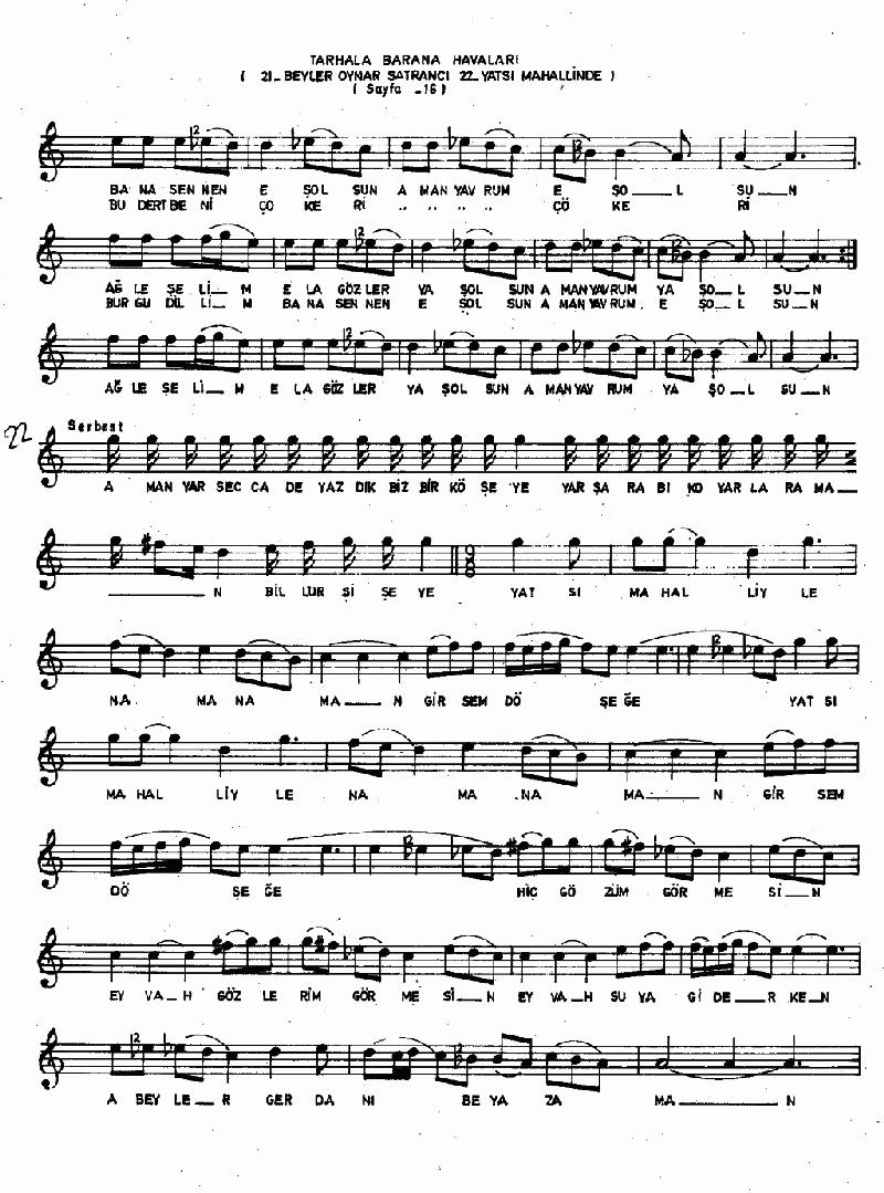 A Sevdiğim Pir Misin (barana-tarhala Hvl.) Nota 7