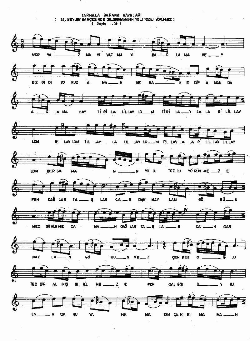 A Sevdiğim Pir Misin (barana-tarhala Hvl.) Nota 8