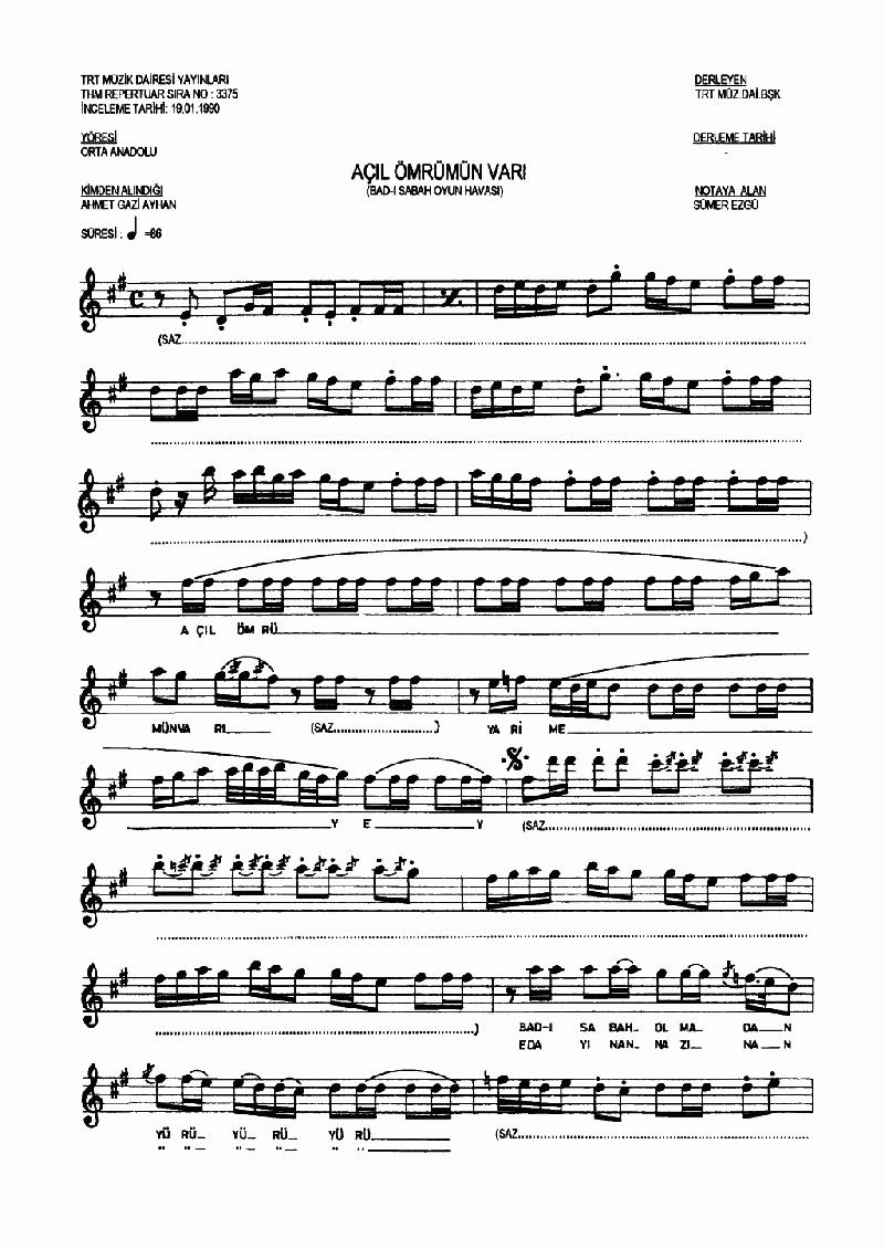 Açıl Ey Ömrümün Varı - 1 Nota 1