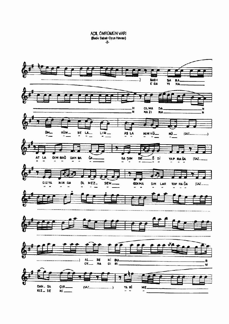 Açıl Ey Ömrümün Varı - 1 Nota 2