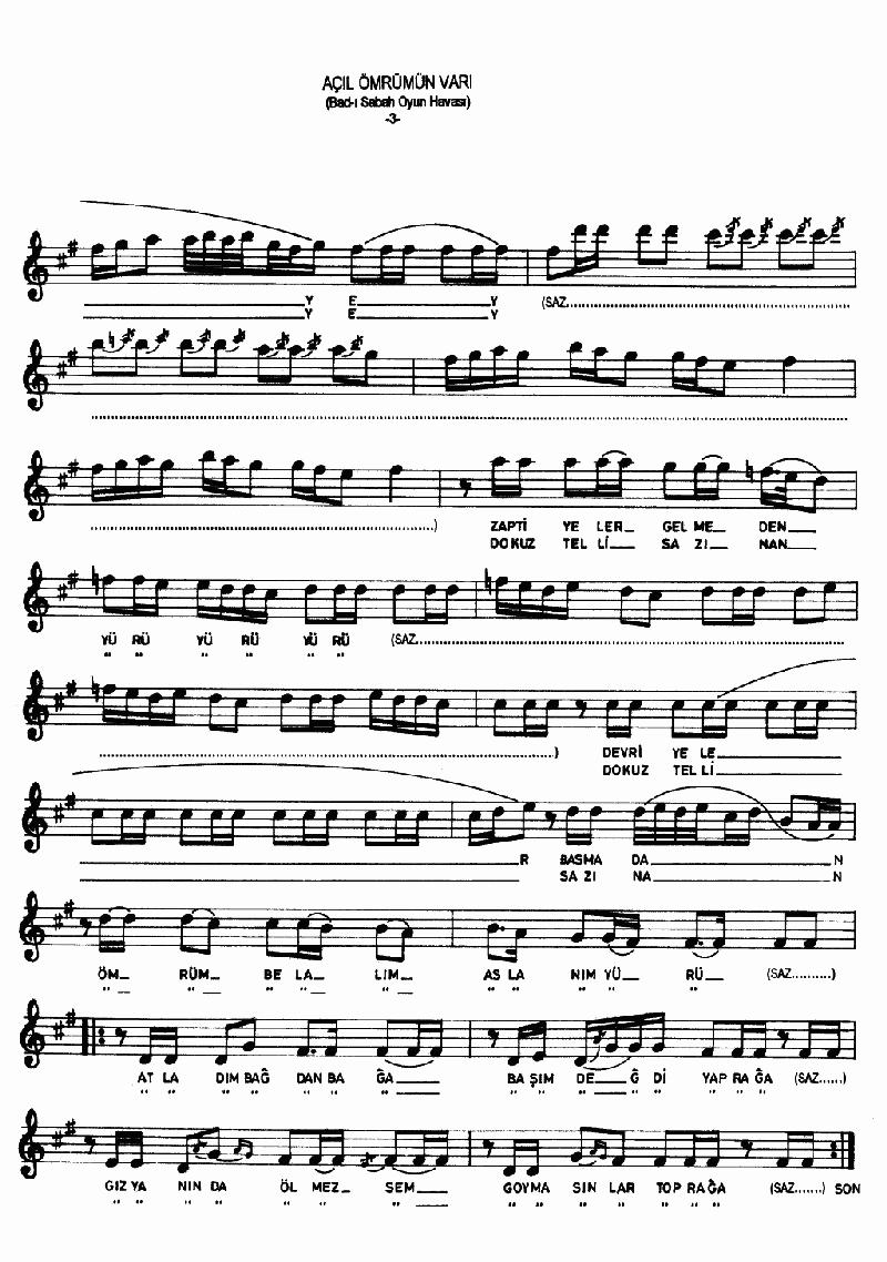 Açıl Ey Ömrümün Varı - 1 Nota 3