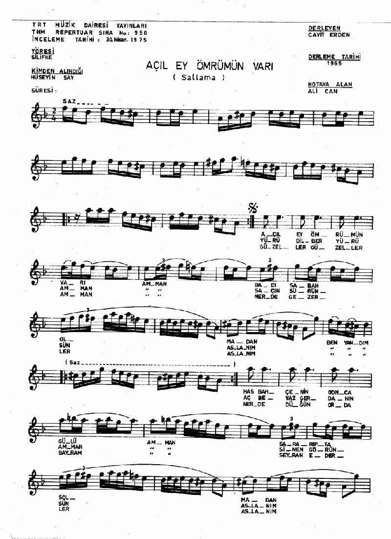 Açıl Ey Ömrümün Varı - 2 Nota 1