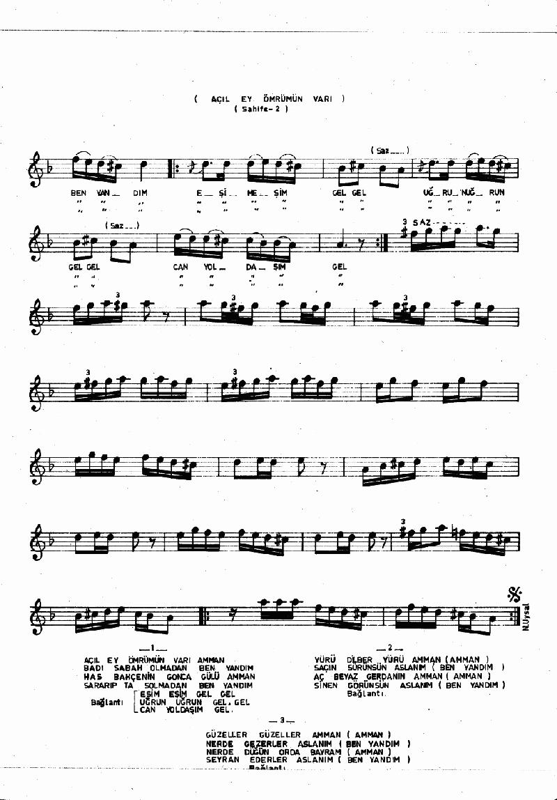 Açıl Ey Ömrümün Varı - 2 Nota 2