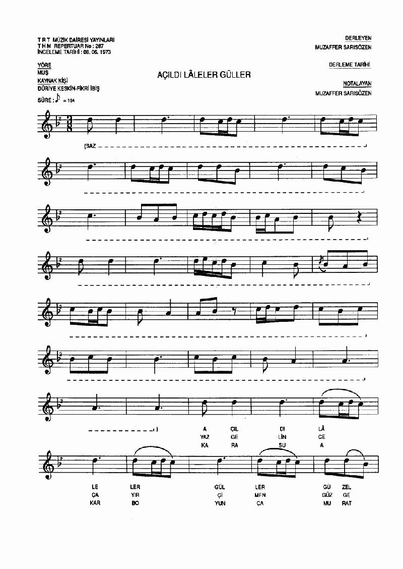 Açıldı Laleler Güller Nota 1