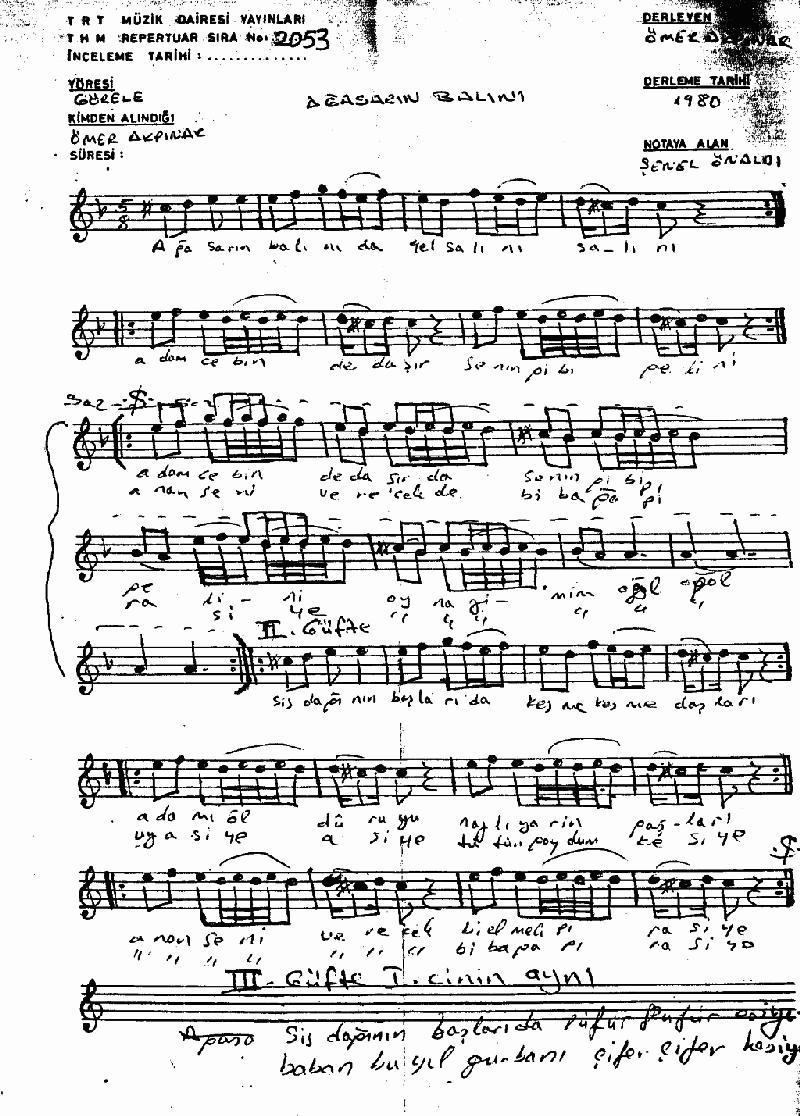 Ağasar'ın Balını Nota 1