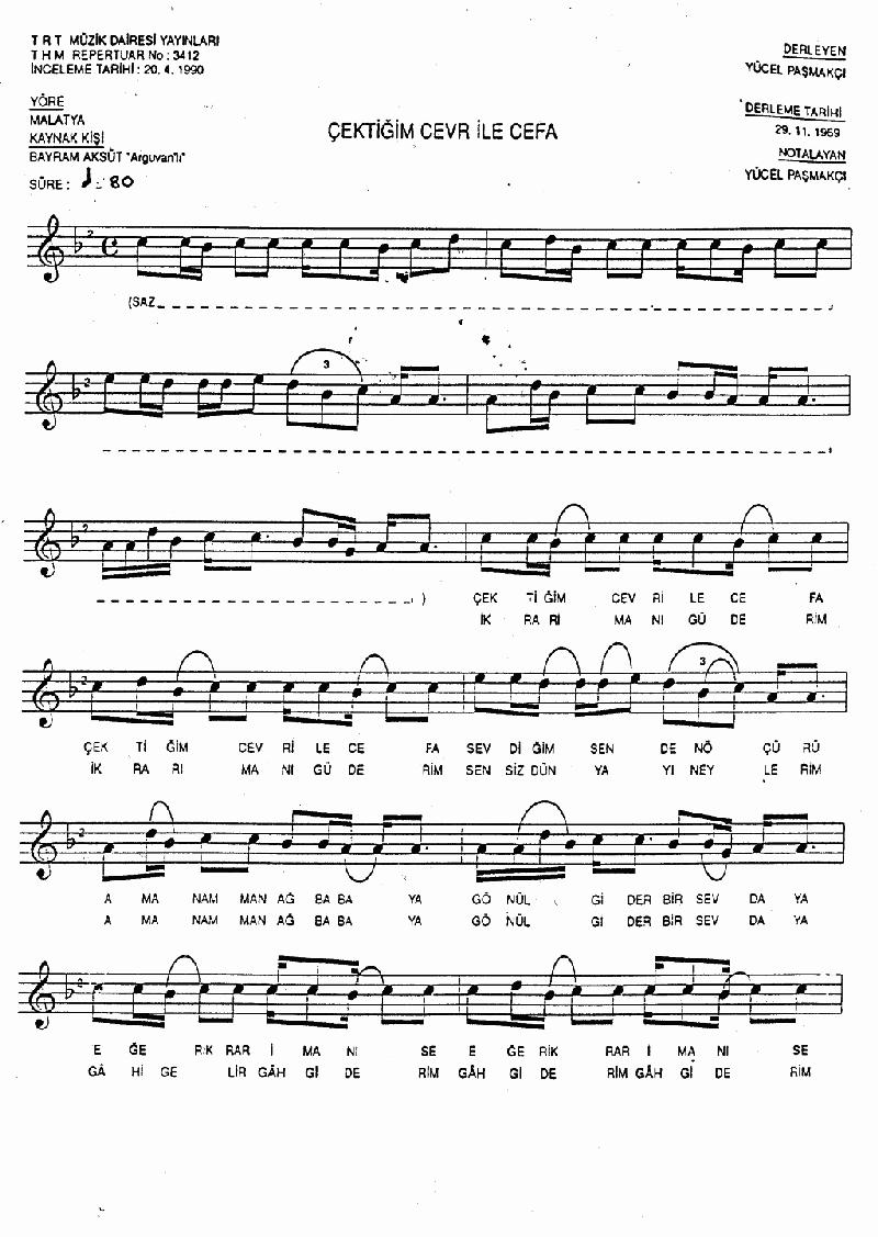 Ağbaba Samahı (çektiğim Cevr İle Cefa) Nota 1
