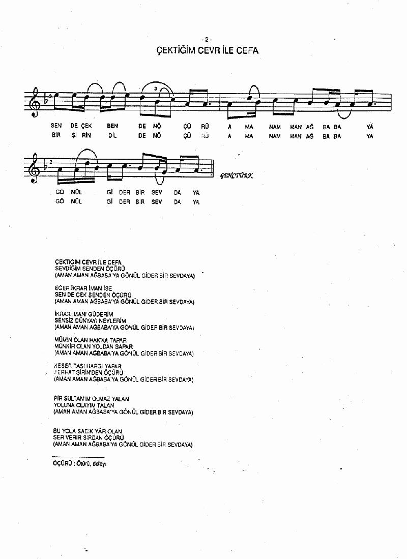 Ağbaba Samahı (çektiğim Cevr İle Cefa) Nota 2