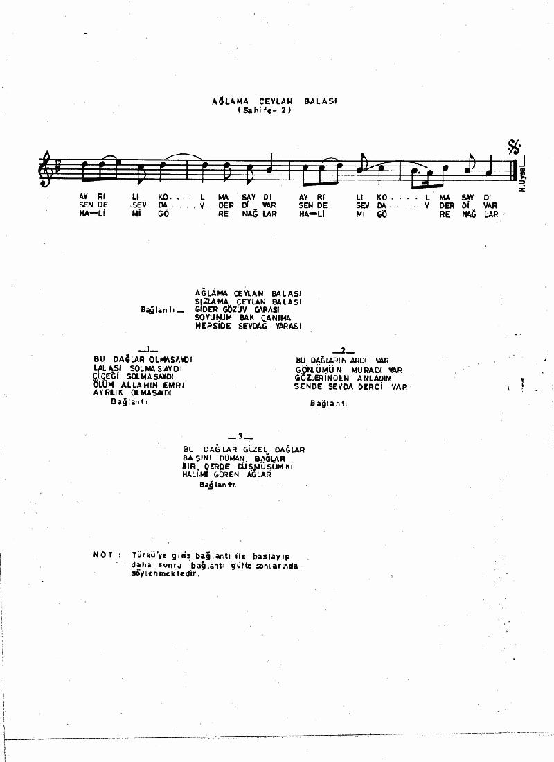Ağlama Ceylan Balası Nota 2