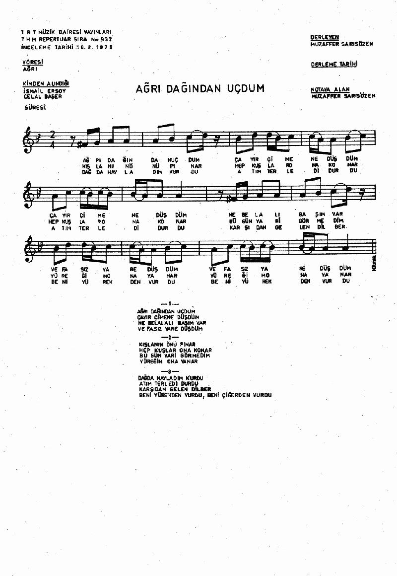 Ağrı Dağından Uçtum Nota 1