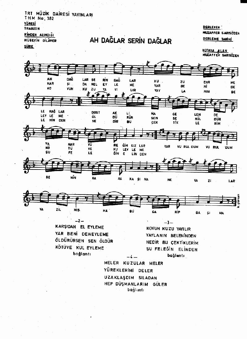 Ah Dağlar Serin Dağlar Nota 1