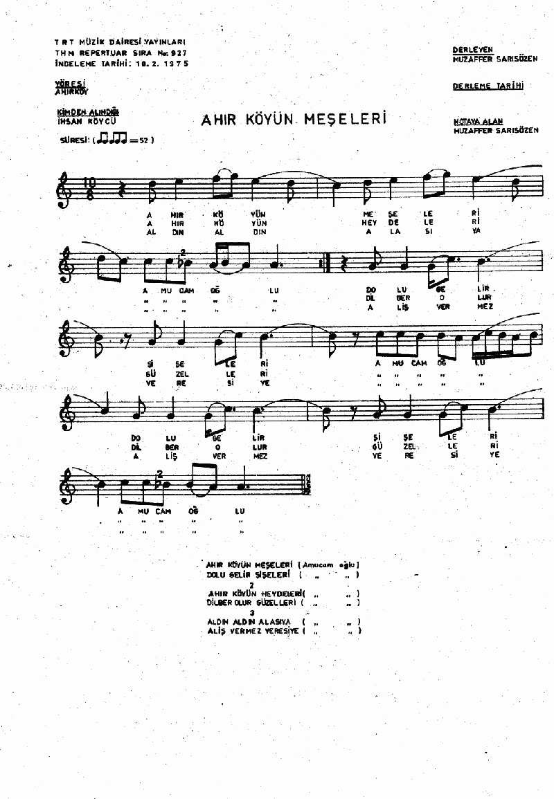 Ahırköy'ün Meşeleri Nota 1
