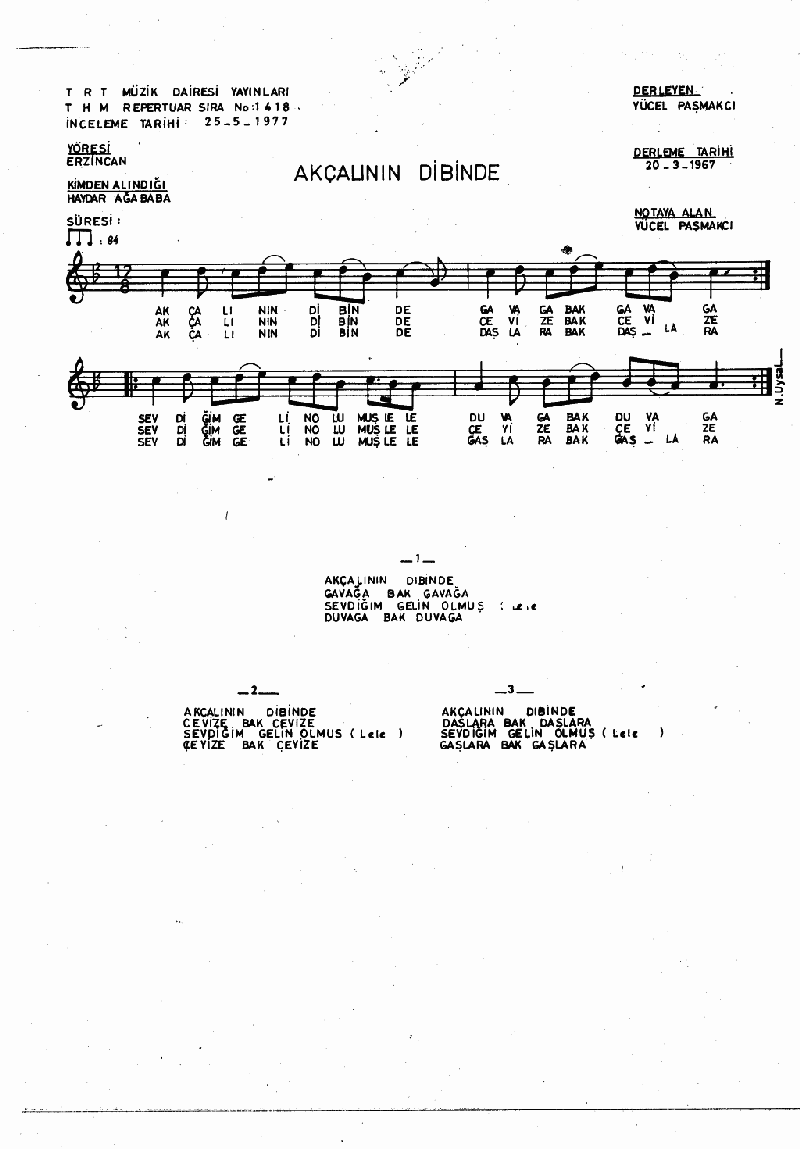 Ak Çalının Dibinde Kavağa Bak Kavağa Nota 1