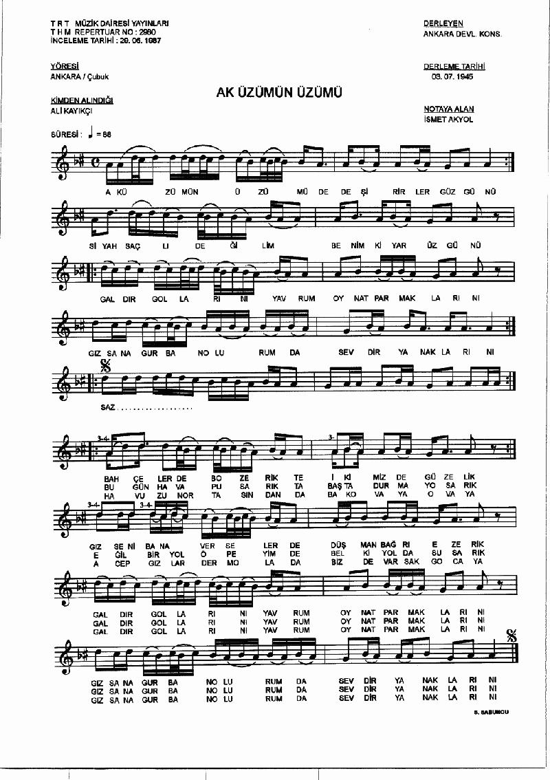 Ak Üzümü Üzümü Nota 1