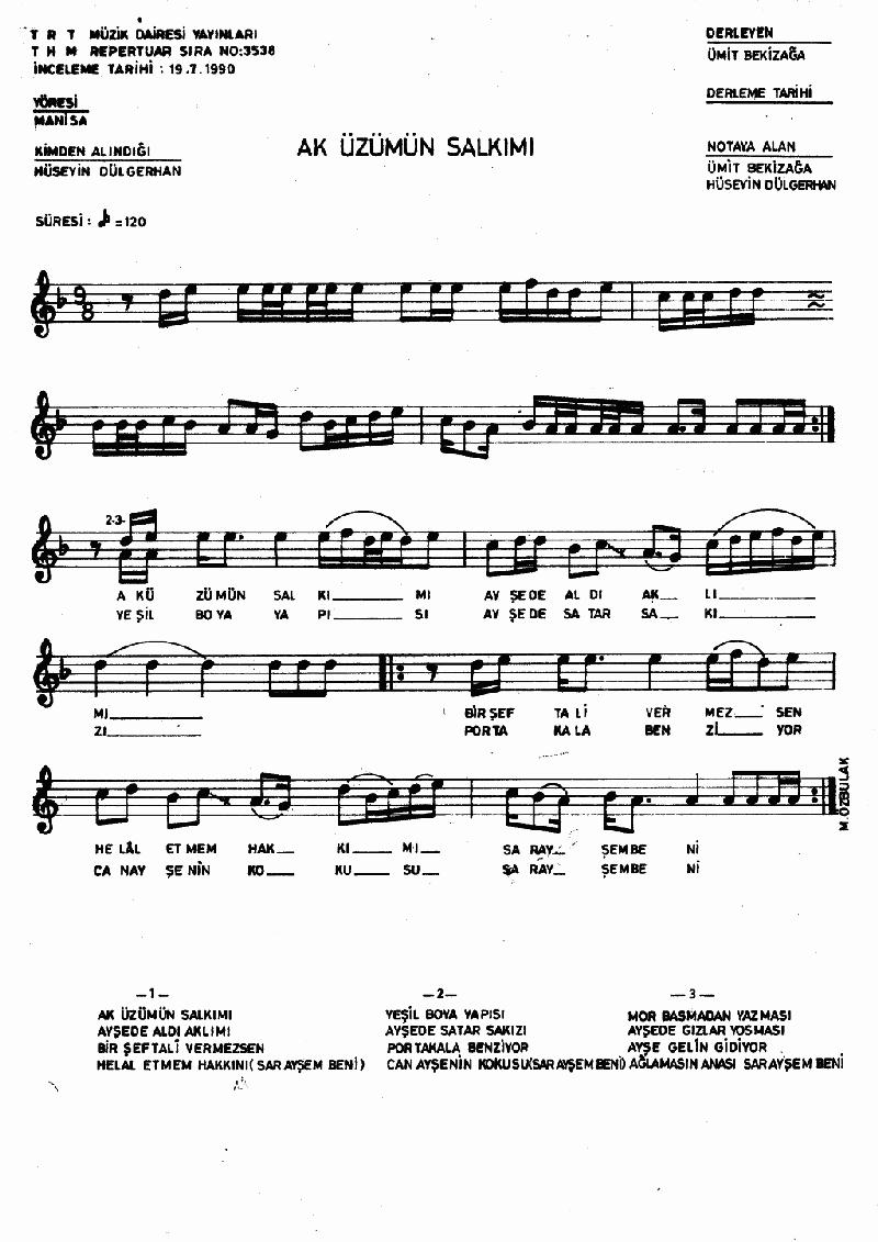 Ak Üzümün Salkımı Nota 1