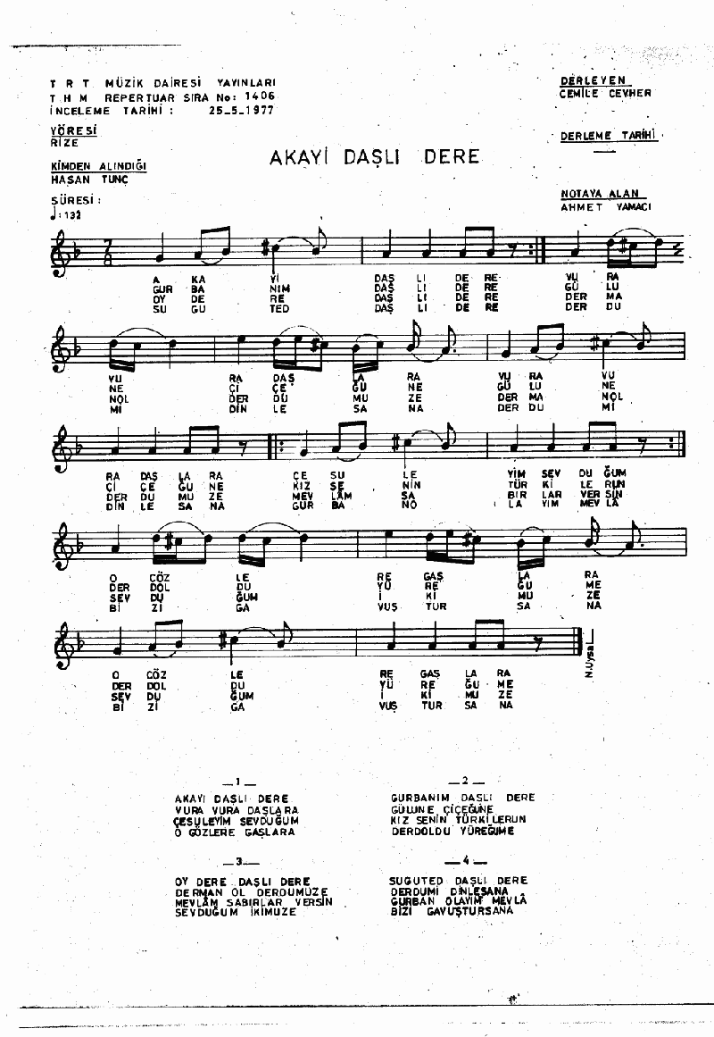 Akayı Daşlı Dere Nota 1