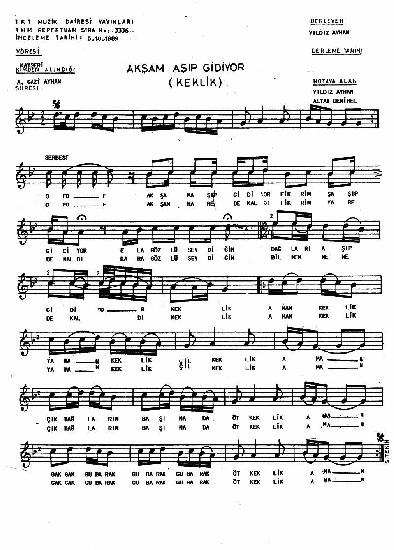 Akşam Aşıp Gidiyor (gubalak Keklik)) Nota 1