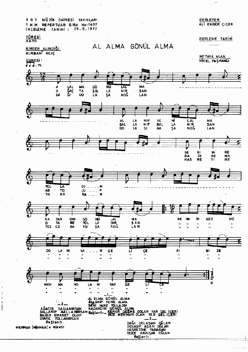 Al Alma Gönül Alma Nota 1