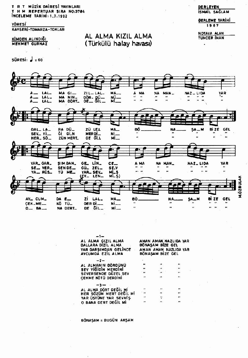 Al Alma Kızıl Alma Nota 1
