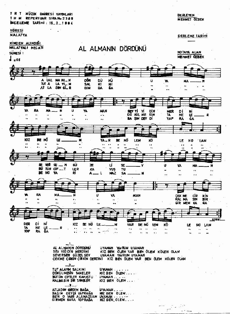 Al Almanın Dördünü Nota 1
