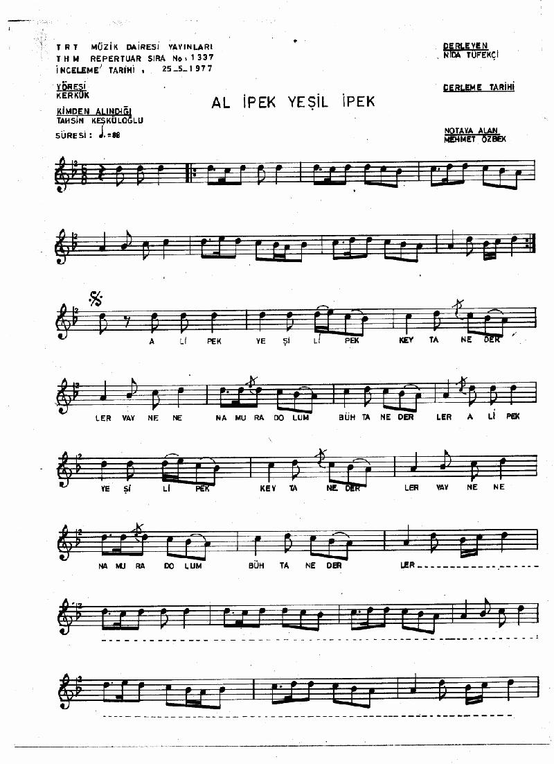 Al İpek Yeşil İpek Nota 1