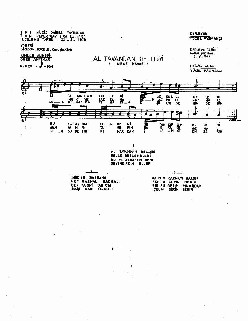 Al Tavandan Belleri - 1 Nota 1