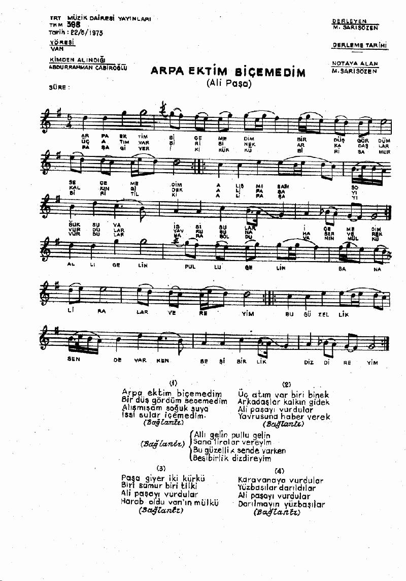Ali Paşa Ağıdı (arpa Ektim Biçemedim) Nota 1