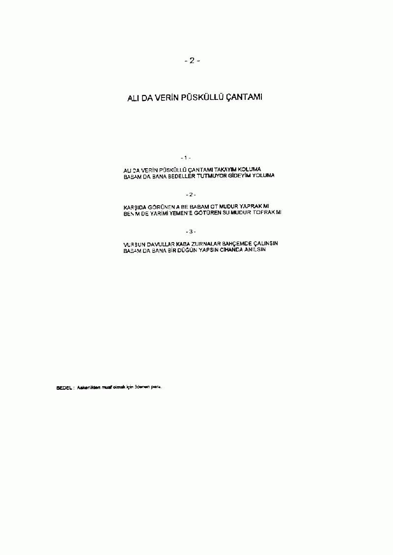 Alıda Verin Püsküllü Çantamı Nota 2