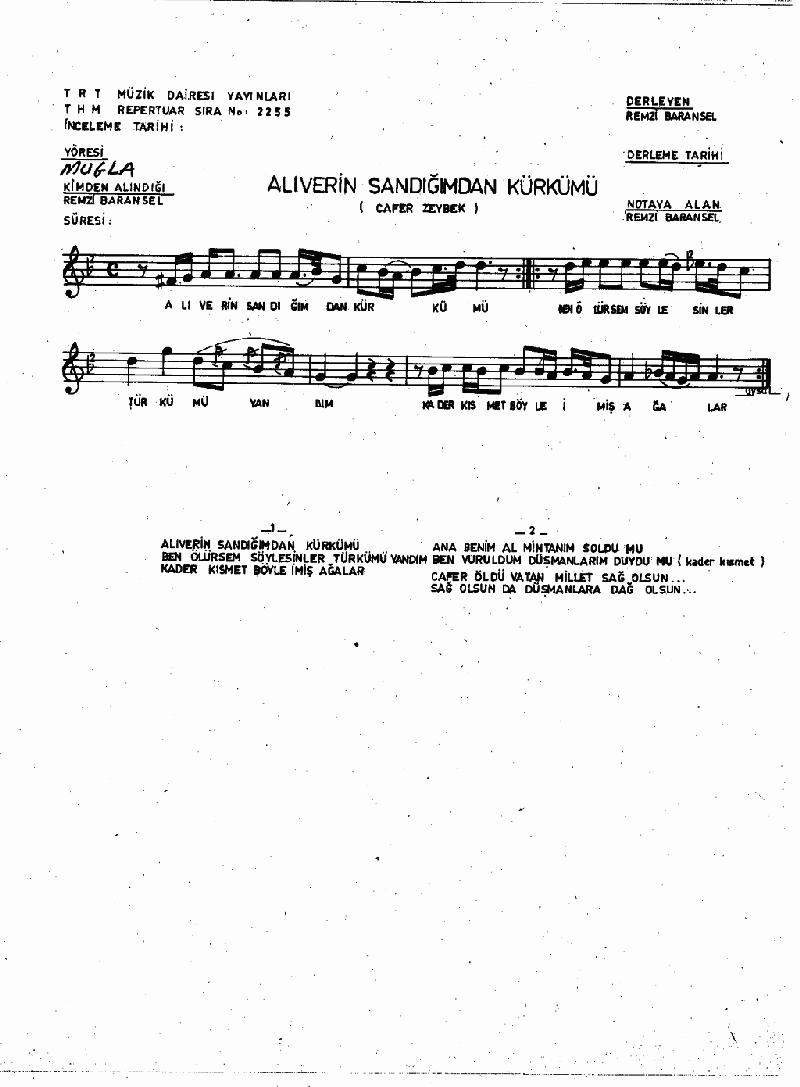 Alıverin Sandığımdan Kürkümü Nota 1