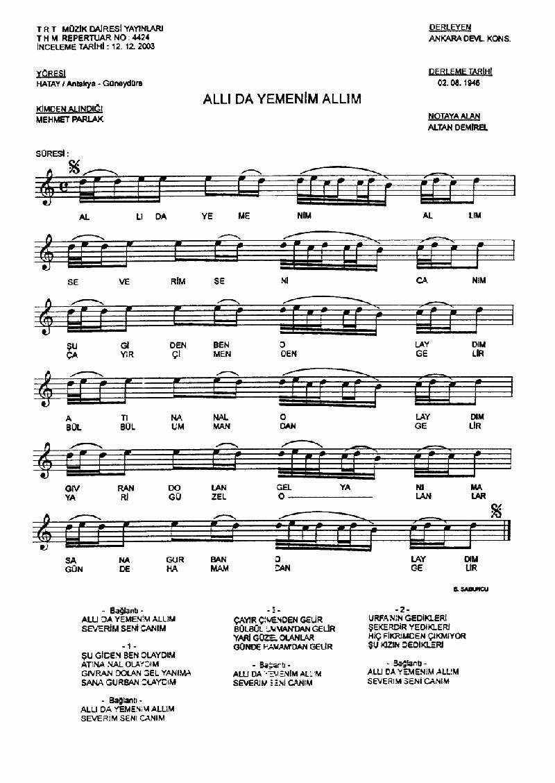 Allı Da Yemenim - 2 Nota 1