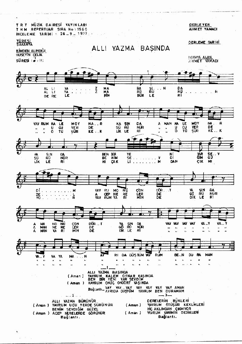 Allı Yazma Başında Nota 1