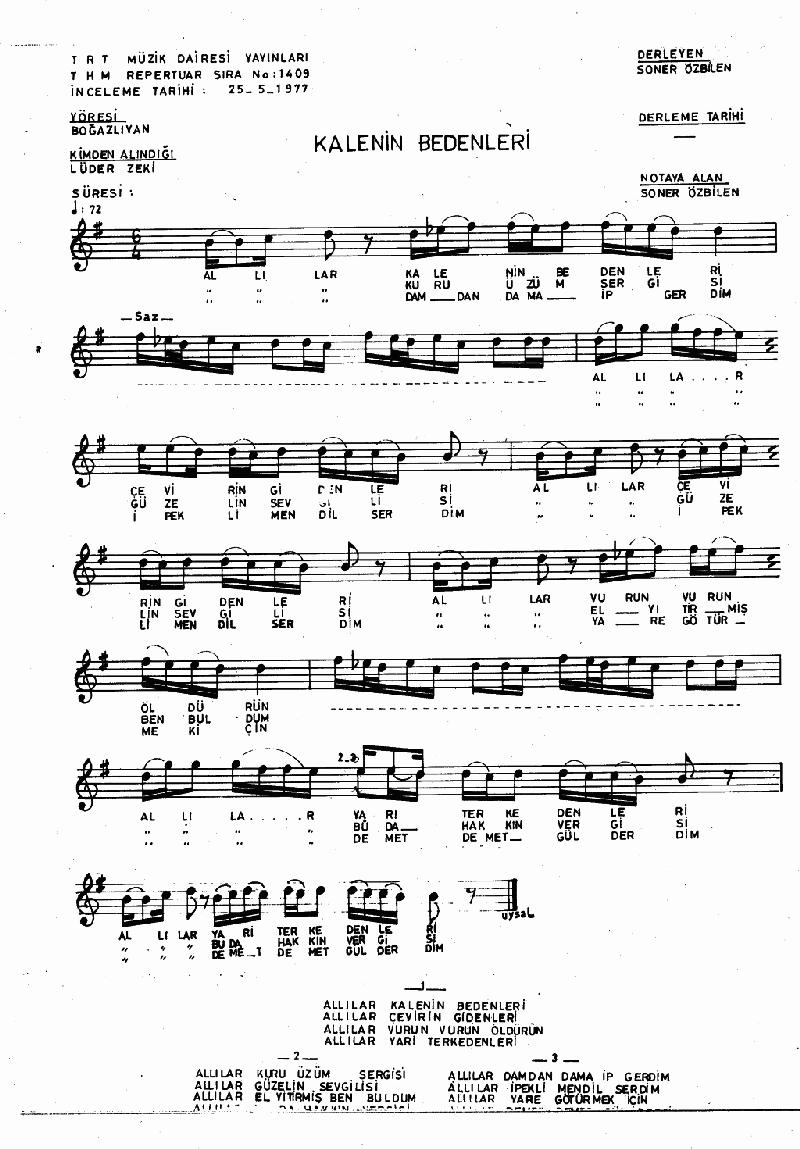 Allılar (kalenin Bedenleri) Nota 1