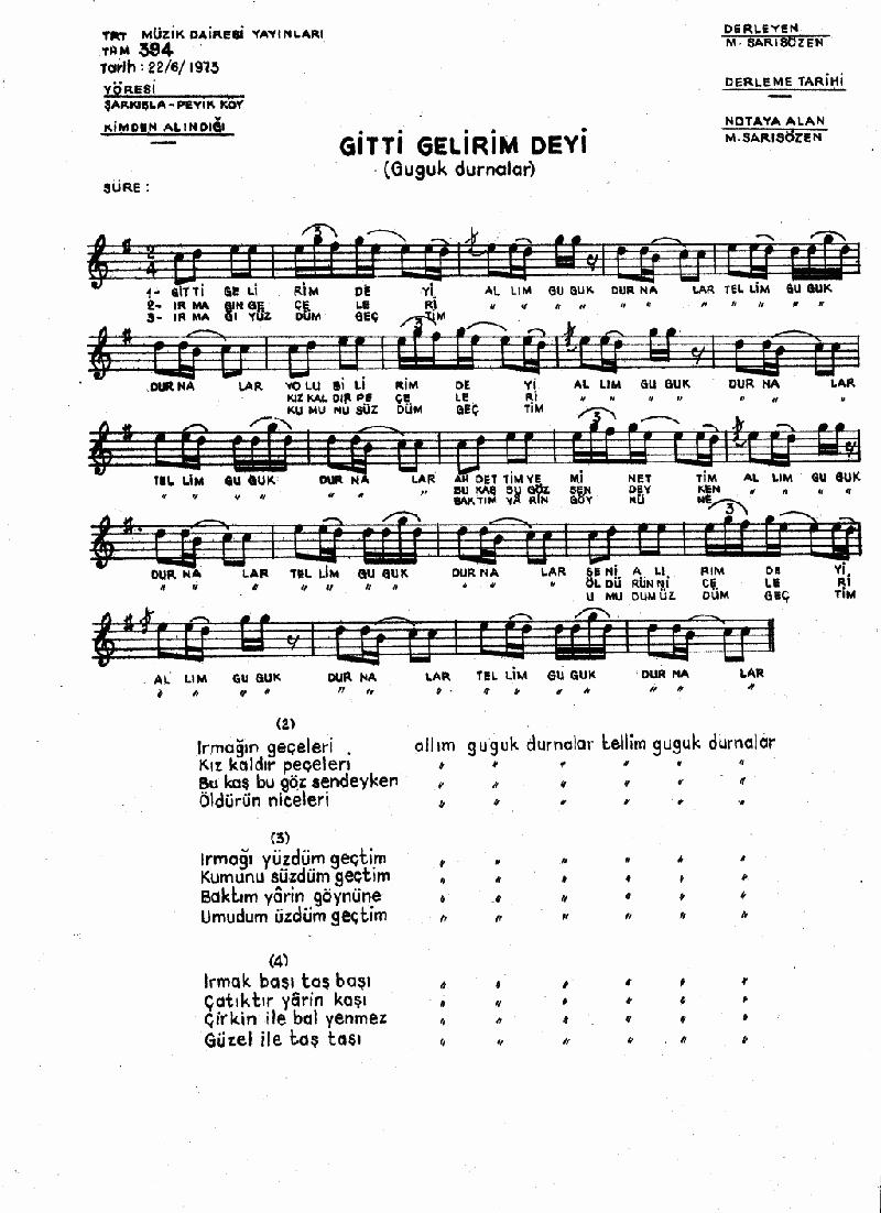 Allım Guguk Durnalar (gitti Gelirim Deyi) Nota 1