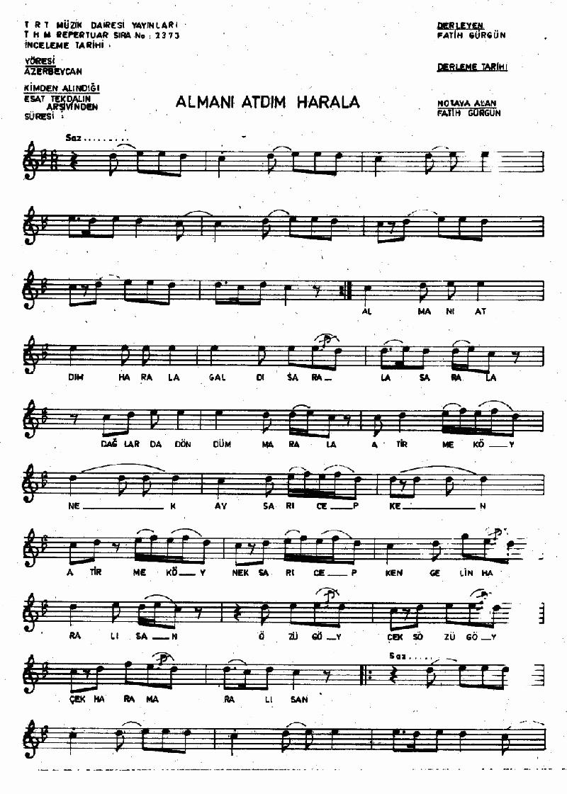 Almanı Attım Harala Nota 1