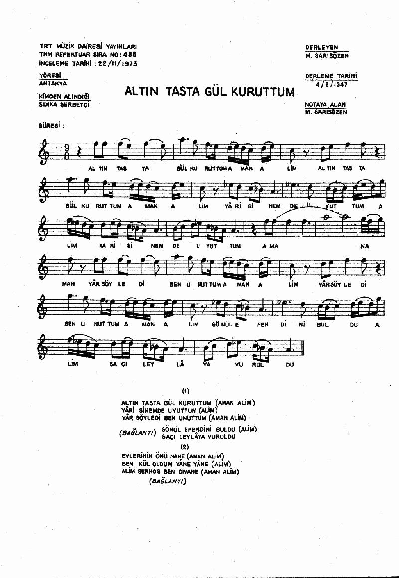 Altın Tasta Gül Kuruttum Nota 1
