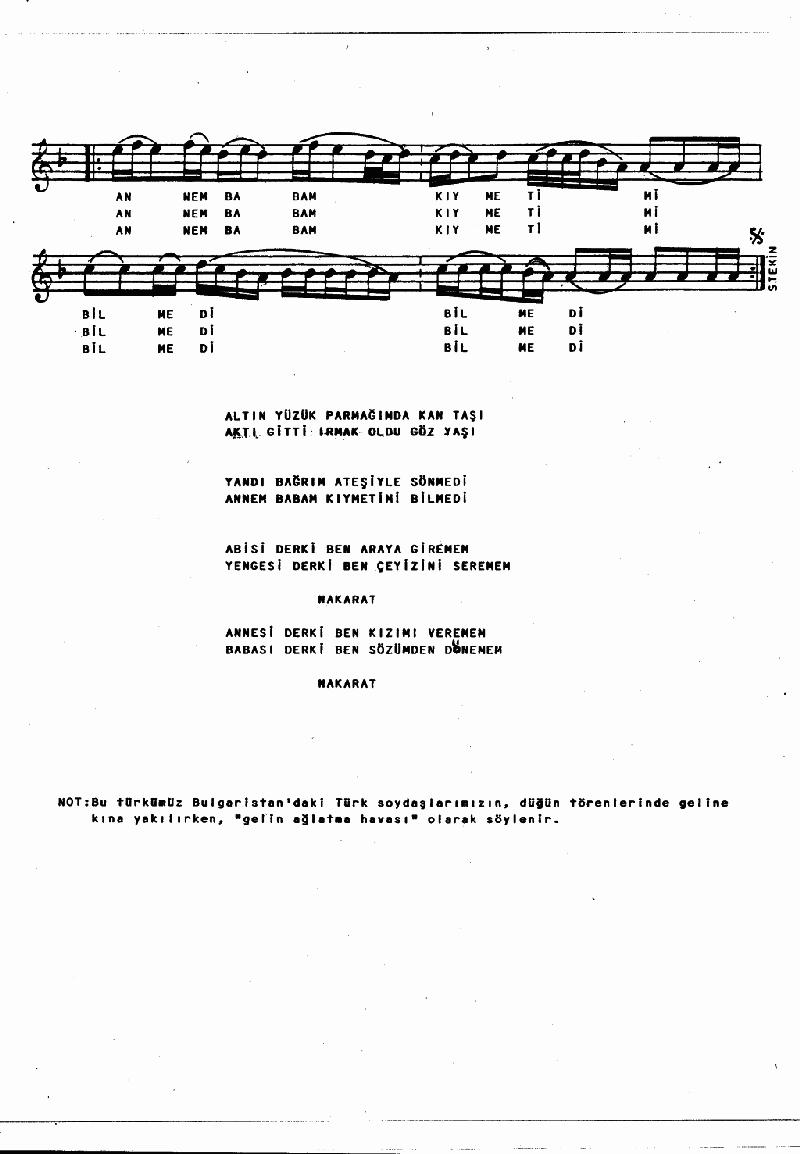 Altın Yüzük Parmağımda Nota 2