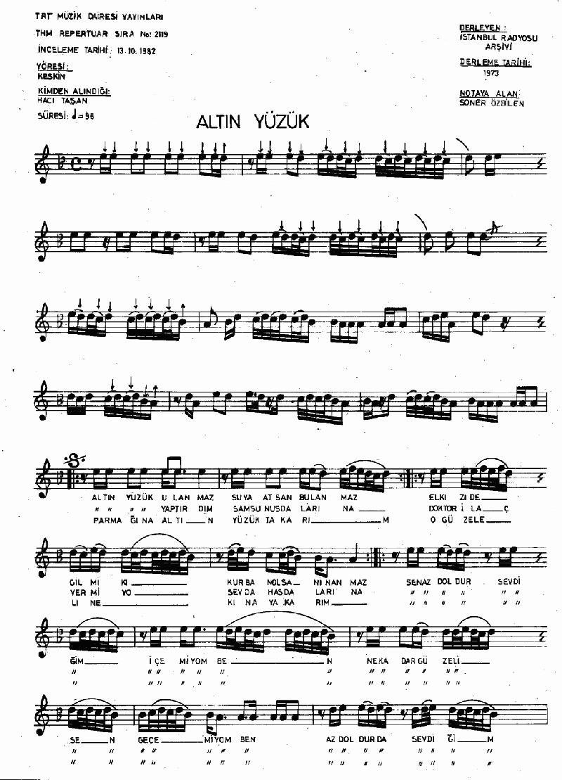 Altın Yüzük Ulanmaz Nota 1