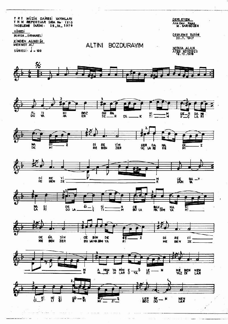Altını Bozdurayım - 1 Nota 1
