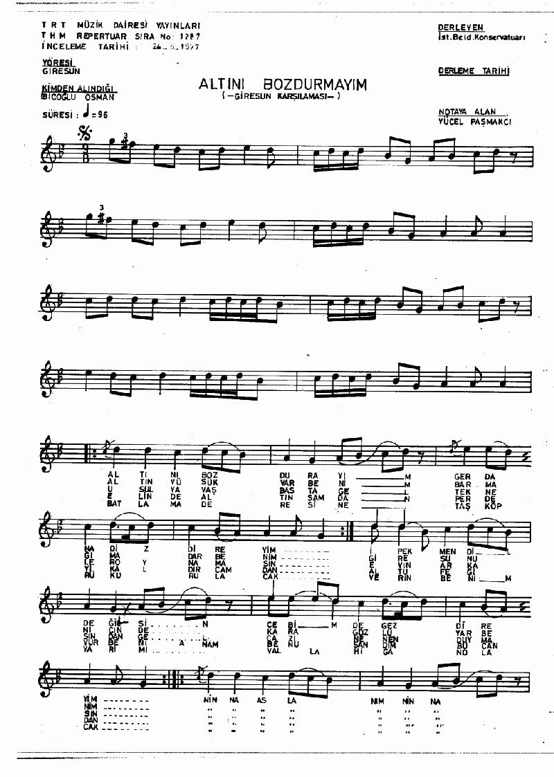Altını Bozdurayım - 2 Nota 1