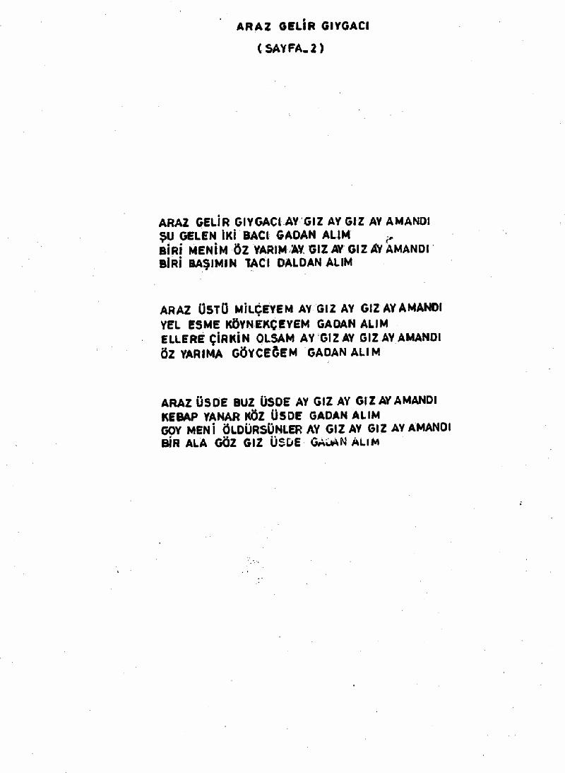 Aras Gelir Gıygacı Nota 2