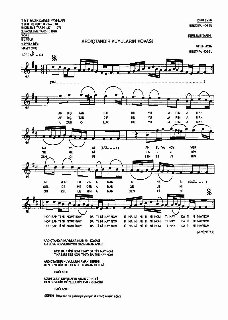 Ardıçtandır Kuyuların Kovası Nota 1