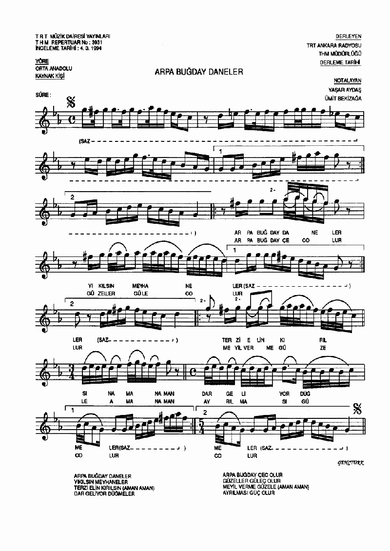 Arpa Buğday Daneler - 1 Nota 1