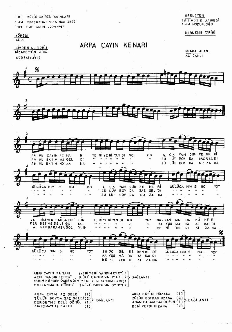 Arpaçay'ın Kenarı Nota 1