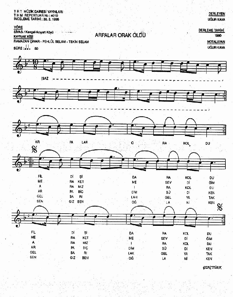 Arpalar Orak Oldu - 1 Nota 1