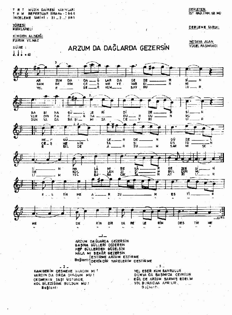 Arzum Dağlarda Gezersin Nota 1