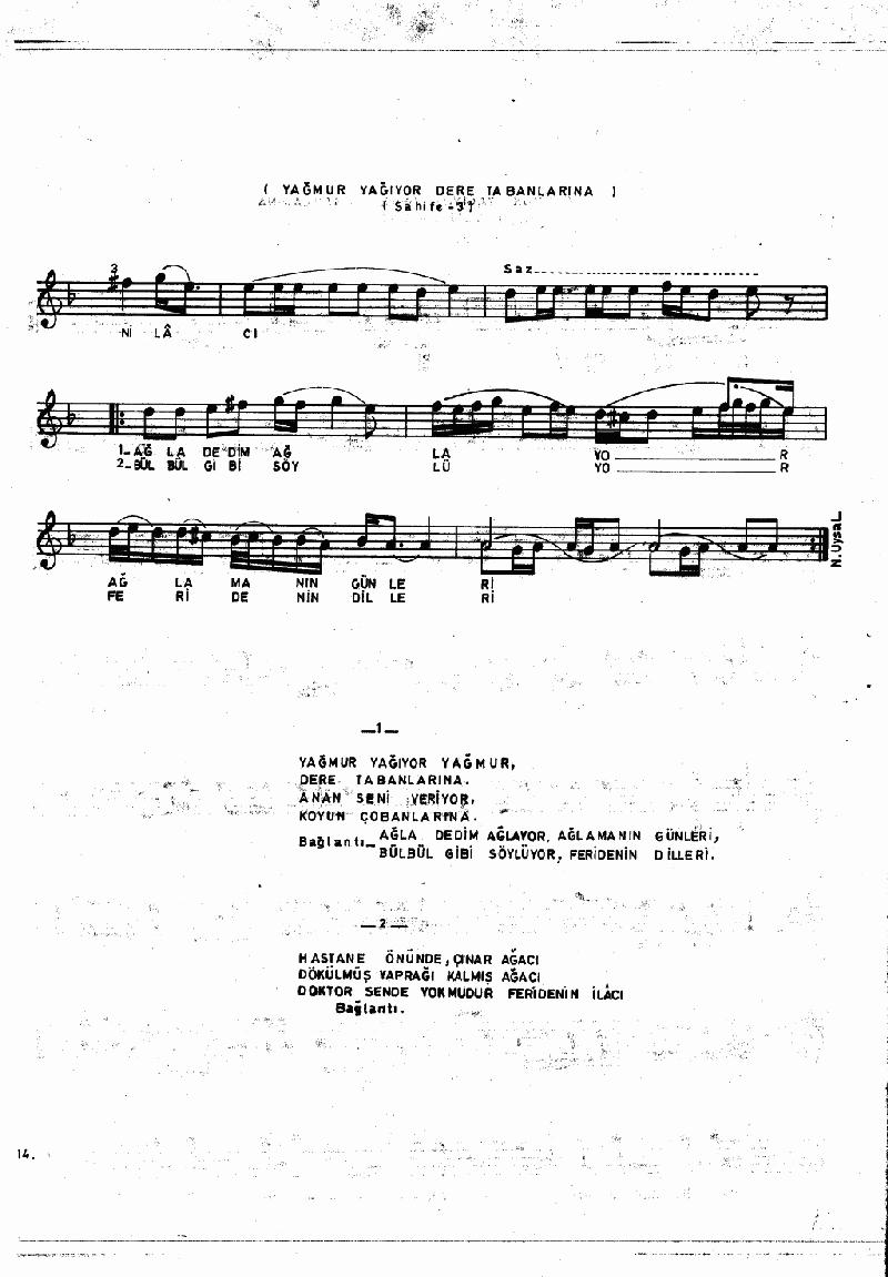 Aşağıdan Çıktı Bayrağın Ucu (barana Hvl.) Nota 14