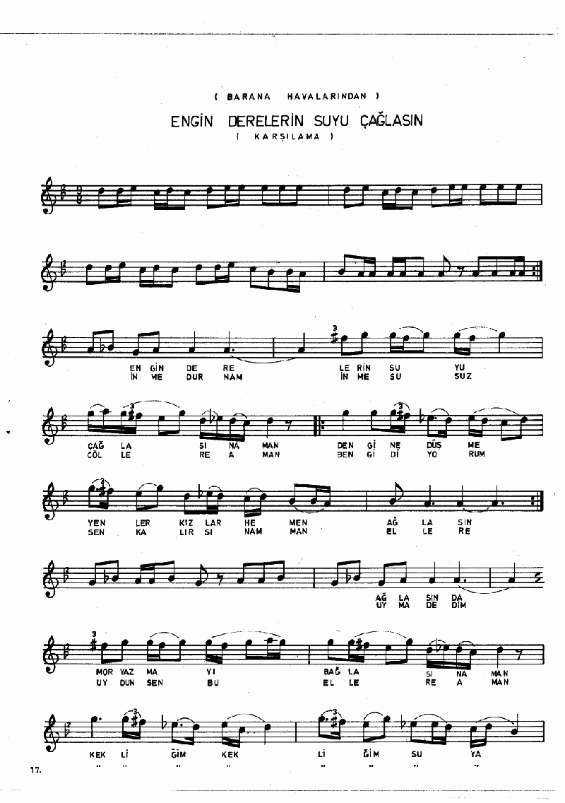 Aşağıdan Çıktı Bayrağın Ucu (barana Hvl.) Nota 17