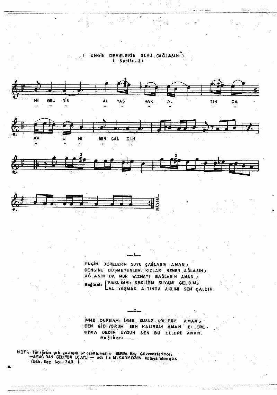 Aşağıdan Çıktı Bayrağın Ucu (barana Hvl.) Nota 18